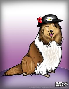 An ode to the #collie.   {Illustration by @CrazyRebels} #dogs #dogsinhats