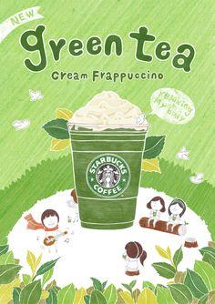 Co's Green Tea Frappe, too! Green Tea Cream, Ice Cream, Philip Kotler, Bubble Drink, Starbucks Green, Tea Illustration, Marketing Calendar, Tea Design, Poster Layout