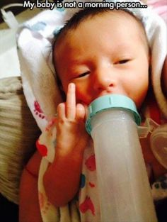 Not a Morning Baby // funny pictures - funny photos - funny images - funny pics - funny quotes - Funny Babies, Funny Kids, Funny Images, Funny Photos, Lol, Funny Captions, I Love To Laugh, Funny People, Baby Photos