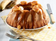 Banana cake with caramel icing • Moist and luxurious, this banana cake will satisfy any sweet tooth. It's one of our favourite cakes.
