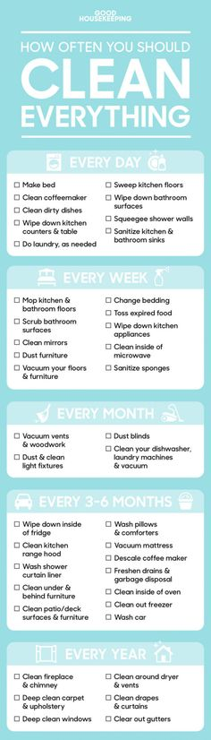 How often you need to clean everything in your dorm/house (aka how to be a grownup). - 9GAG