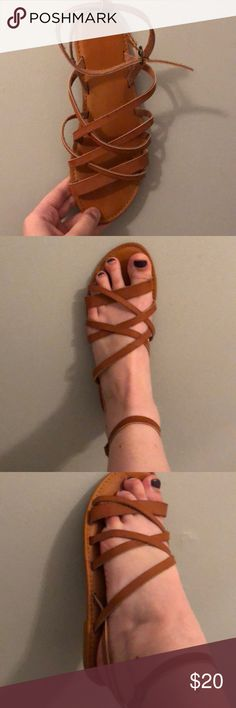 Bamboo Boutique Sandals only worn once outside. Bought at a small boutique. Very cute and comfortable. 10 fits a 9 best so it's not too tight. Also willing to trade or negotiate:) BAMBOO Shoes Sandals