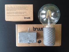 Concrete pendant lamp  Customize your lamp in our webshop www.bruusk.com :) Select favourite fabric cord, color of concrete and light bulb!