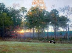 """RayMar Art Finalist 2013 """"Sunset at New Hope Plantation"""" by James Tennison, oil art of size 18"""" x 24"""""""