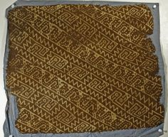 "Large Pre-Columbian Textile Section. North coast, Peru, Ca 1000 to 1300 CE. From the Chancay culture a large section of a textile panel woven in shades of tan and brown with repeating diagonal temple and zigzag patterns. Selvage on two sides. Measures 20"" x 17"".   PROVENANCE: Ex-B. Kane Collection acquired in Peru in the 1950's, CA"