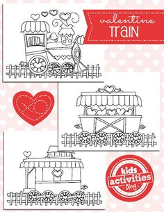 Valentine Train Coloring Pages - these free coloring pages make the perfect Valentine's Day craft for kids! Color each part of the train individually and then tape them together.