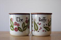 Knabstrup Denmark PERNILLE Coffee & Tea Jar With Teak Lid Handpainted Danish Mid Century Pottery by little danish mood on Gourmly