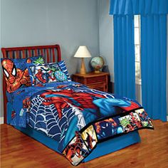 @Overstock - Bring fun and heroism to the bedroom with this twin-size Bed in a Bag with Spider-Man theme. Inspiring your child to save mankind before a good sleep, the set has an easy-to-clean, polyester-and-cotton comforter, pillowcase, and flat and fitted sheets.http://www.overstock.com/Bedding-Bath/Spider-Man-4-piece-Twin-size-Bed-in-a-Bag-with-Sheet-Set/5575636/product.html?CID=214117 $55.99