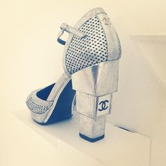 Wowsa! Chanel sliver block heel pumps l wantering.com