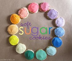 soft sugar cookies with tasty icing in pretty colors --recipes