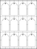 This site has an assortment of hang tag templates as well as all sorts of shapes and sizes....Templates: www.paperpresentation.com