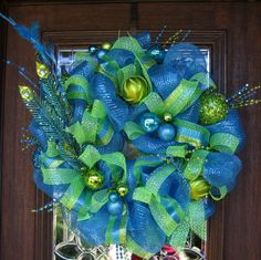 Deco Mesh TURQUOISE LIME and PEACOCK Wreath by decoglitz on Etsy