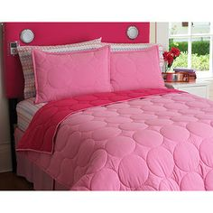 Your Zone Reversible Comforter and Sham Set - Pink Stitch, Twin
