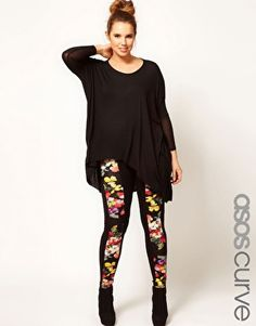 I have these and theyre so comfty!  ASOS CURVE Floral Panel Leggings