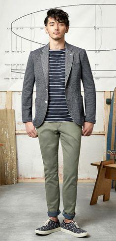 [T.I FOR MEN] Men Outerwear Jackets 2 BUTTON NAVY JERSEY JACKET M143MJK209M