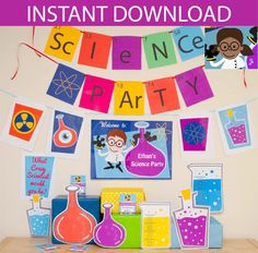 Science Party Decorations & Props Printable Kit - INSTANT DOWNLOAD - Girl Brown Hair and Dark Skin by CreativeLittleStars on Etsy https://www.etsy.com/listing/178988604/science-party-decorations-props