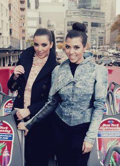 Kim and Kourtney- I love kourtney's jacket!