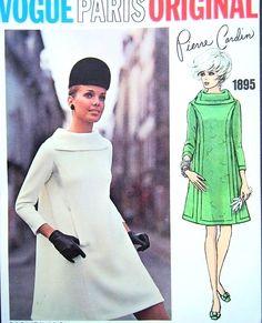 Mod 60s Pierre Cardin Bias Tent Style Dress Pattern Vogue Paris Original 1895 Unique Bias Collar Vintage Sewing Pattern Vogue Label Bust 34