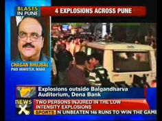 Four low-intensity explosions occurred this evening in the busy Junglee Maharaj Road area injuring two persons, police said. The explosions took place near Balgandharva Theatre, at Dena Bank branch and a McDonald joint, while one was reported in a dustbin in the area, police said, adding entire area has been cordoned off.