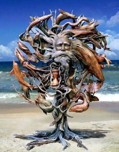 Driftwood Sculpture by Paul Baliker
