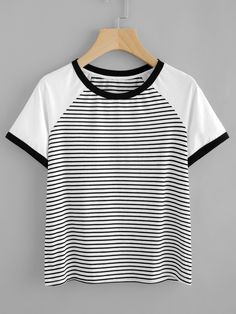SheIn offers Contrast Raglan Sleeve Striped Ringer Tee & more to fit your fashionable needs. Jumpsuits For Women, Blouses For Women, Casual Outfits, Cute Outfits, Teenage Girl Outfits, Crop Top Shirts, Black Girl Fashion, Latest Fashion For Women, Casual Tops