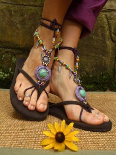 PURPLE dream BAREFOOT SANDALS Barefoot Wedding Tribal by GPyoga, $89,00