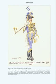 The Confederation of the Rhine - Westphalia: Plate 7. 3rd Line Infantry Regiment, Drum Major, 1812