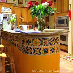 mexican home decor DIY Mexican Talavera Tile Furniture Stencils - Royal Design Studio Mexican Style Kitchens, Mexican Kitchen Decor, Mexican Home Decor, Hacienda Kitchen, Mexican Hacienda Decor, Mexican Style Homes, Kitchen Themes, Rustic Mexican Furniture, Mexican Restaurant Decor