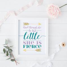 Though She Be But Little She is Fierce   Nursery Printable   Girls Nursery Printable   Purple and Teal   Gold Print   Arrow Printable