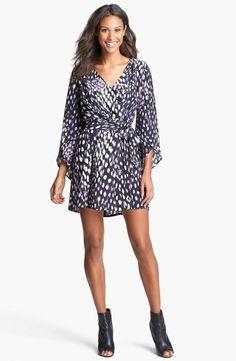 Presley Skye Print Silk Faux Wrap Dress