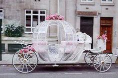 Weddbook ♥ Fairytale Wedding Car for dream wedding. Cindrella's wedding car with pink roses. Cinderella Carriage, Cinderella Wedding, Princess Carriage, Cinderella Coach, Real Cinderella, Cinderella Theme, Princess Wedding, Perfect Wedding, Dream Wedding