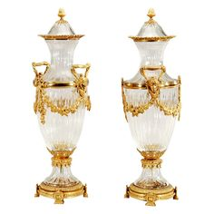 Pair of Signed Baccarat Crystal Vases with Ormolu Bronze Mounts