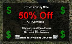 Billionaire Mailing List - Contact Addresses of the Wealthy and Super Rich Billionaire Homes, Office Address, Cyber Monday Sales, Rich People, November, Coding, Marketing, Writing, November Born