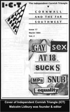 Front cover of Lidbury's lesbian & gay men's Cornwall newsletter March 1994.  #LGBT  http://www.lgbthistorycornwall.blogspot.com