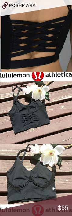 Lululemon Bonded bra Lululemon bonded bra. SOLD OUT.  Black. Size 2. Luxtreme and mesh. Cross back. Tons of support. lululemon athletica Intimates & Sleepwear Bras