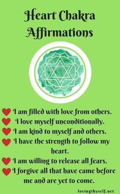 The heart chakra positive affirmations! Healing from the inside-out. Lovingthyself.net #healing #positive #affirmations http://www.lawofatractions.com/environment-influence-life-path/