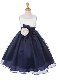 navy flower girl dresses | Home » Ivory Bodice with Navy Organza Girl Dress with Flower