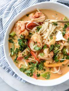 - How Sweet Eats - thai coconut curry shrimp noodle bowls - Healthy Recipes, Thai Recipes, Shrimp Recipes, Asian Recipes, Cooking Recipes, Soup Recipes, Eat Healthy, Coconut Curry Shrimp, Shrimp Curry