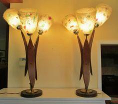 RARE Pair of Mid-Century Danish Modern Retro Vintage Table Spaghetti Lamps Vintage Lamps, Retro Vintage, Danish Modern, Mid-century Modern, Retro Lighting, Mid Century Lighting, Bright Ideas, Light Shades, Ufo