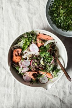 Salmon over Herbed Grains with Salsa Verde #realfood #salmonrecipe