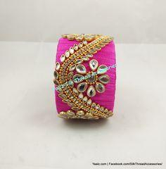Yaalz Heavy Kundan Work Jumbo Kada In Pink Colors ! Price Per Pair For Orders Ping us in WhatsApp 8754032250 Fancy Jewellery, Thread Jewellery, Jewellery Designs, Jewelry Patterns, Silk Thread Bangles Design, Kundan Bangles, Blouse Designs Silk, Silk Art, Earring Tutorial