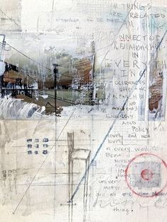 Collage of notes, sketches, painting, stamp, imprint, logo, mystery, textire