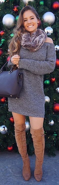 #winter #outfits grey knit off-shoulder long-sleeved mini dress