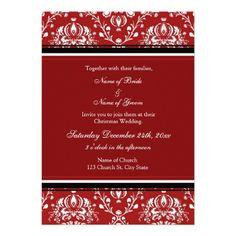 Red Damask Christmas Wedding Invitation Cards  Keywords: #christmasweddings #jevelweddingplanning Follow Us: www.jevelweddingplanning.com  www.facebook.com/jevelweddingplanning/