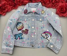 Custom Denim Jacket for Girls Reworked Sequin Bedazzled Unicorn Patched Toddler Jean Jacket With Sta Jean Jacket For Girls, Jean Jacket Outfits, Baby Denim Jacket, Customised Denim Jacket, Custom Jackets, Sequin Jeans, Toddler Jeans, Book Bags, Jean Jackets