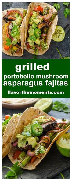 Grilled Portobello Mushroom Asparagus Fajitas are fajita-spiced veggies grilled to perfection and served with homemade guacamole. There's also a handy recipe video for this healthy, delicious 30 minut