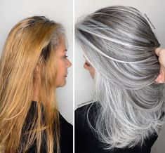 Stylist shows gorgeousness of grey hair instead of covering it up Grey Hair Transformation, Gray Hair Highlights, Grey Hair Lowlights, Natural Hair Styles, Short Hair Styles, Transition To Gray Hair, Hair Looks, Dyed Hair, Hair Inspiration