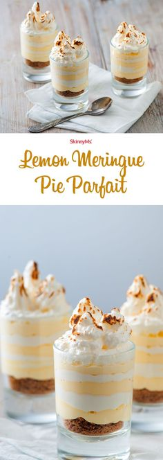 Take your healthy dessert game up a notch with the SkinnyMs. Lemon Meringue Pie Parfait!