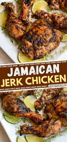 55 minutes · Gluten free · Serves 4 · Jamaican Jerk Chicken is a grilled chicken recipe that brings the flavors of garlic, spicy peppers, ginger, allspice, nutmeg and cinnamon together in the most flavorful chicken marinade ever! This… Baked Jerk Chicken, Grilled Chicken, Jerk Chicken Marinade, Chicken Flavors, Easy Chicken Recipes, Turkey Recipes, Jamaican Chicken, Easy Main Dish Recipes, Recipe Using Chicken