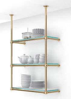 """Palmer specializes in the design and fabrication of custom shelving systems, used commonly in residential kitchens and as """"back-bars"""" for restaurants. Brass Shelving, Custom Shelving, Shelving Design, Shelving Systems, Open Shelving, Bar Shelves, Kitchen Shelves, Home Bar Designs, French Bistro"""